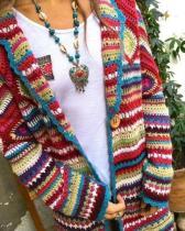 Winter Loose Multicolor Vintage Print Ethnic Cardigan Sweater Coat
