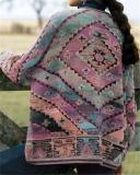 Knitted Long Sleeve Geometric Outerwear