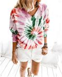 V-neck Tie-dye Print Long Sleeve Sweatshirt