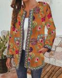 Ethnic Style Floral Print Plus Size Jackets