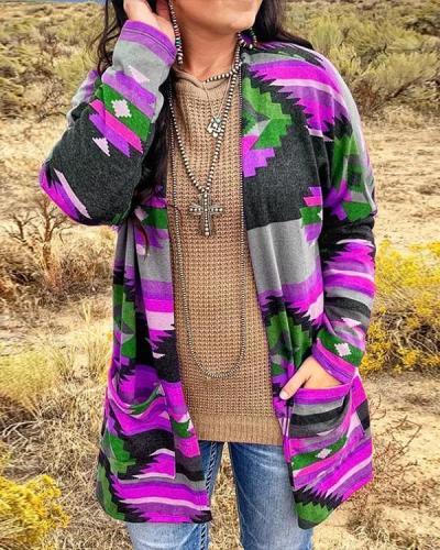 Colorful Geometric Print Long Sleeve Casual Overcoat