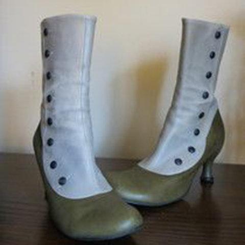Women's Vintage Leather Platform High Heels Punk Boots