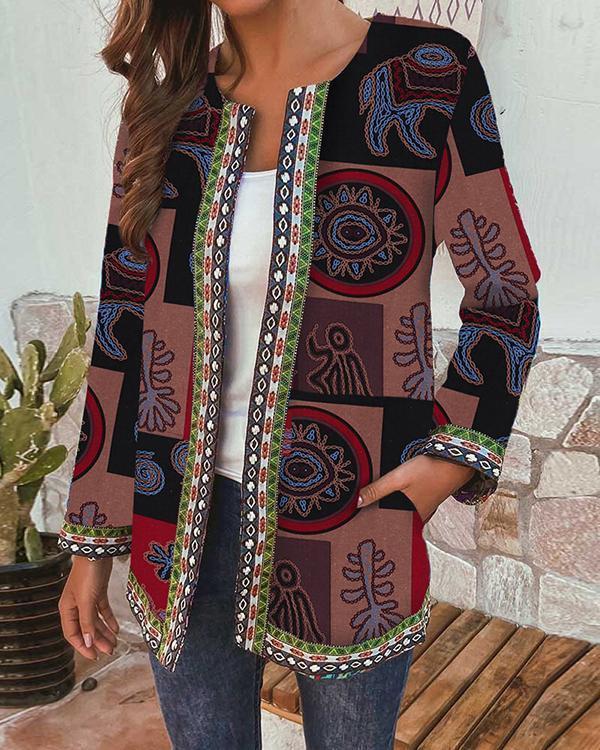 Women Vintage Ethnic Print Webbing Patchwork Plus Size Jackets