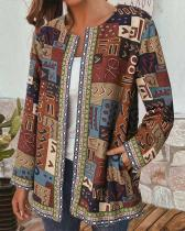 Vintage Print Webbing Patchwork Long Sleeve Plus Size Jackets