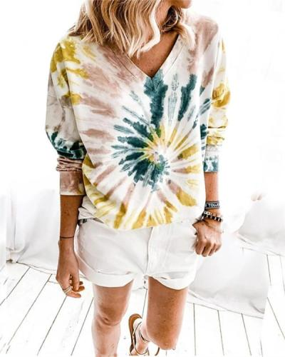 V-neck Tie-dye Print Long Sleeve Sweatshirt