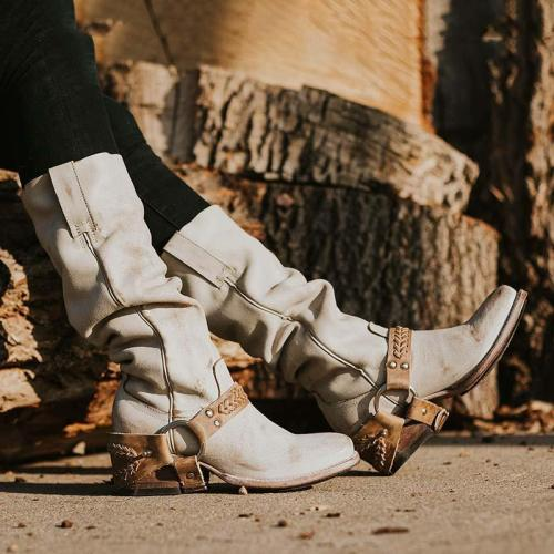 Retro Style Mid-calf Boots Braided Strap Low Heel Daily Boots