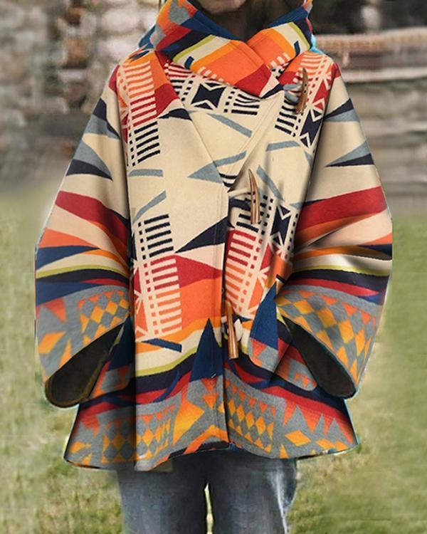 Horn Button Asymmetric Loose A-Line Mid-Length Hooded Overcoat