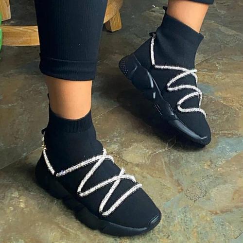 Women Stylish Flyknit Fabric Bling Slip On Platform Sock Sneakers