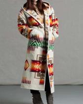 Women's Winter Casual Print Long Coat