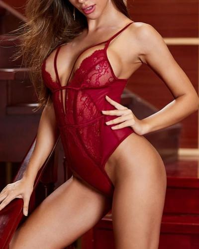 Viviane Plunging Mesh and Lace Teddy Sexy Lingerie