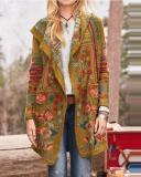 Floral Print Long Sleeves Casual Coat