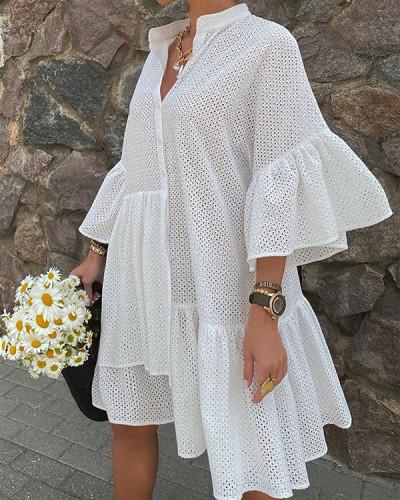 Flare Sleeve Solid Casual Big Hem Shirt Dress