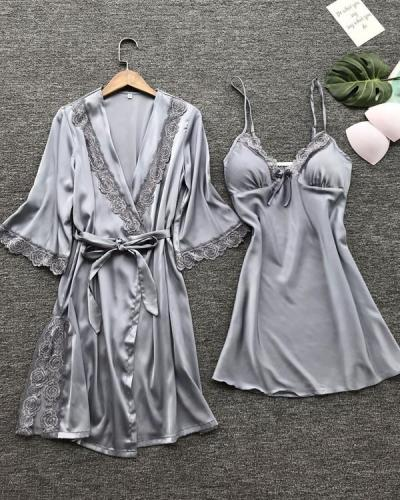 Satin Lace Trim 2PCS Sleepwear Sets