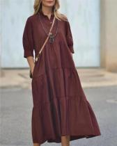 Holiday Solid Buttoned V-neck Paneled Pockets Maxi Dress