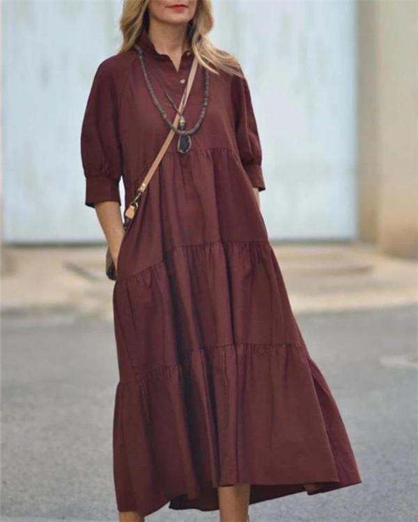 Holiday Solid Buttoned V-neck Paneled Pockets Maxi Dress