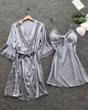 Satin Lace Trim 2PCS Sleepwear Sets