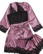 Satin Lace Trim 3PCS Sleepwear Sets