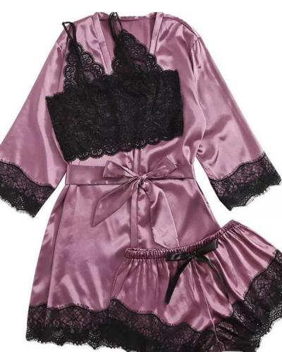 Satin Lace Trim 3PCS Sleepwear Sets