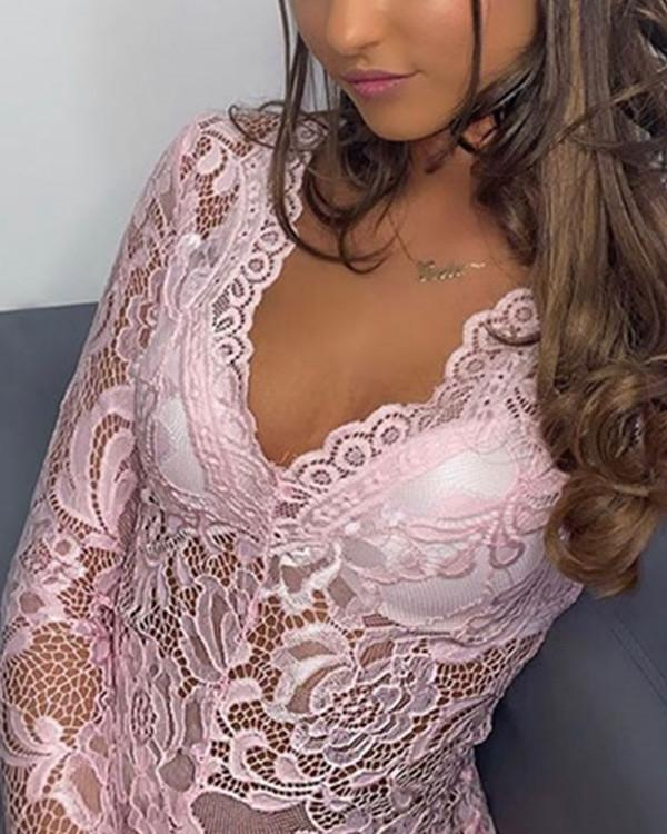 Luxe Long Sleeve Teddy Sexy Lingerie