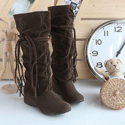 Women Flat Heel Suede Boots