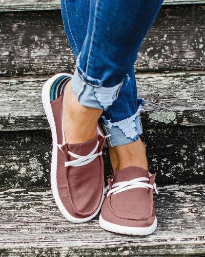 Women Lace-up Daily Flats Casual Loafers