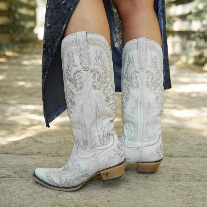 Rivet Block Heel PU Knee-High Boots Vintage Women Boots