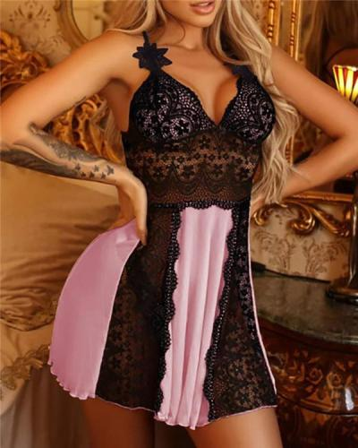 Lace Hollow Out Cross Backless Babydoll