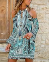 Print Long Sleeves/Cold Shoulder Sleeve Shift Above Knee Casual Dresses