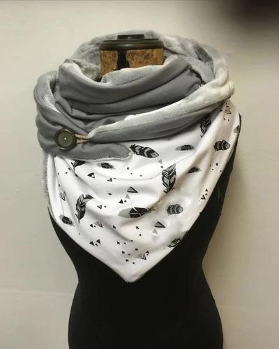 Women Printed Scarf Shawl Multi-purpose Neck Wrap White Scarf