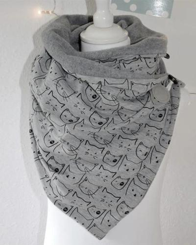 Women Cat Printed Scarf Shawl Multi-purpose Neck Wrap Warm Scarf