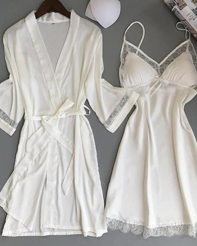 Satin Lace Trim 2PCS Sleepwear Sets Lingerie