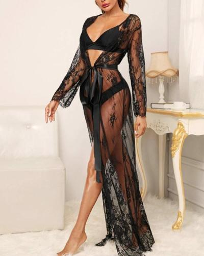 Women Bathrobe Long Lace Mesh Belt Long Robe