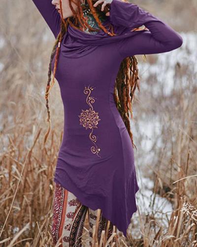 Women's Vintage Flower Printed T-shirt Casual Hoodies