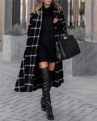 Fashion Grid Long Sleeve Overcoat