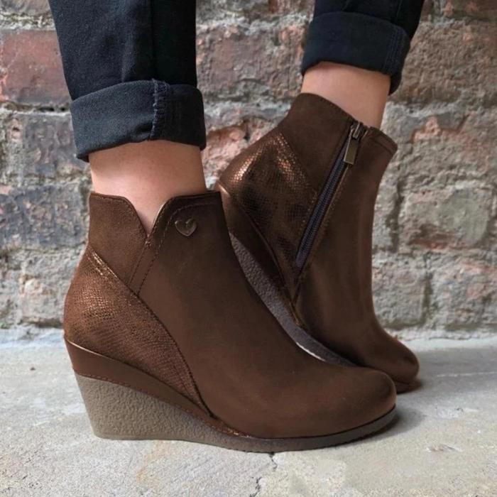 Women Casual Wedge Heel Round Toe Ankle Boots