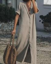 Short Sleeve Button up Casual Solid Shirt Dress Maxi Dress