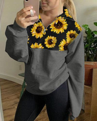Sunflower Printed Zip Sweatshirt