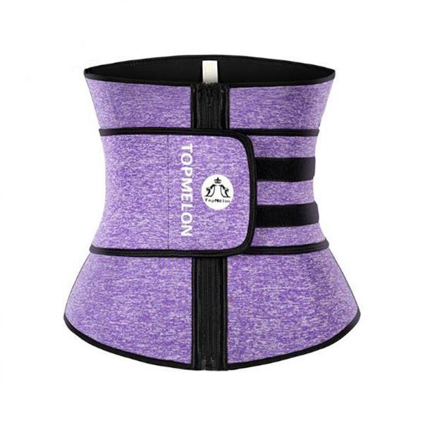 TOPMELON Fitness Purple Zipper Waist Trainer Fashion Comfort