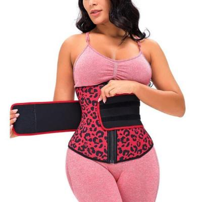 TOPMELON Fitness Zipper Leopard Waist Trainer Fashion Comfort