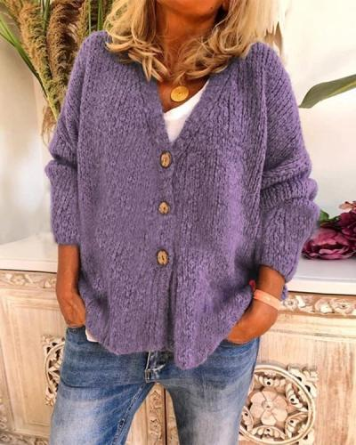 V-Neckline Solid Casual Loose Buttons Sweaters