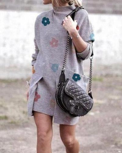 Fashion  Long sleeve Print Irregular Shift Dresses