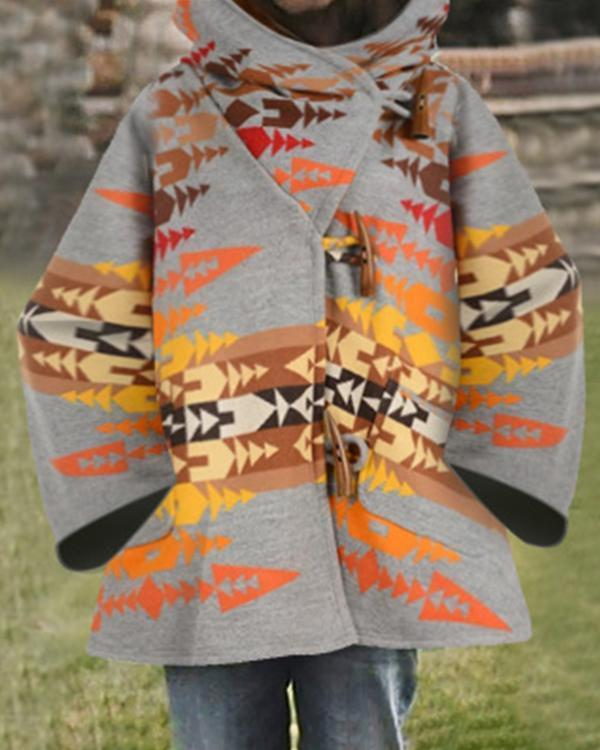 British Style Holiday Geometric Jacquard Horn Buckles Hooded Coat