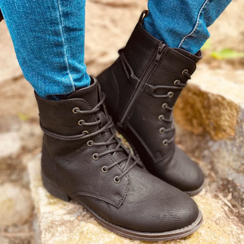 Block Heel Imitation Leather Lacing Ankle Boot