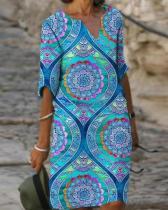 Women's Shift Dress Knee Length Blue Dress