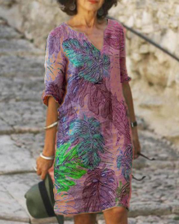 Women's Casual Dress Print Knee Length Dress