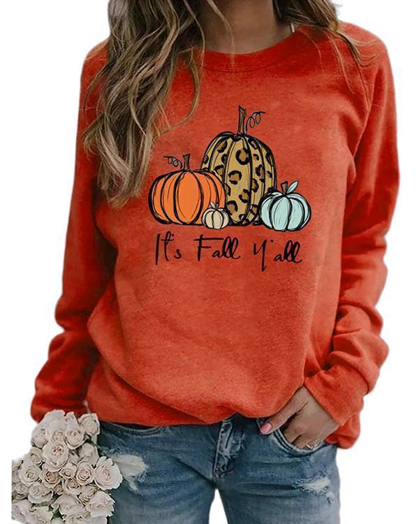 Halloween Print Pumpkin Cotton Sweatshirt