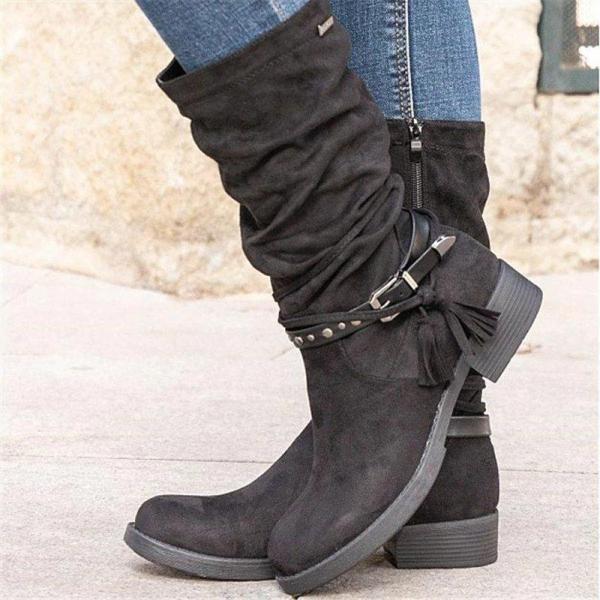 Women Simple Elegant Tassel Zipper Mid-calf Boots