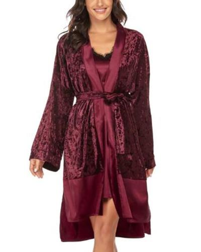 Women Autumn and Winter Sexy Lace Simple Robe