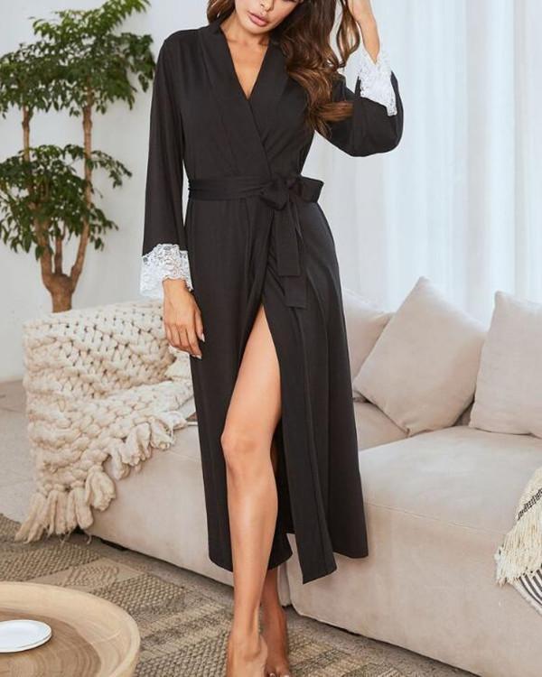Modal Lace Patchwork Extra large size Long sleeves V-neck Bathrobe