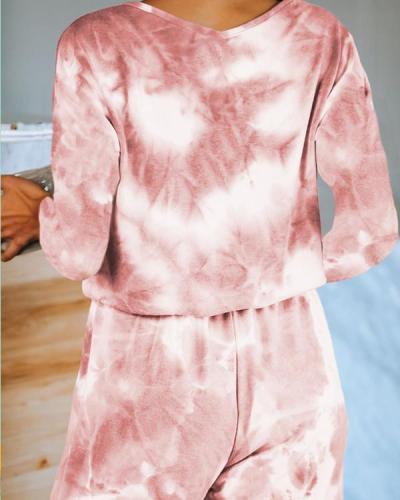 Tie Dye Lougewear Long Sleeves Top And Pants Sets At Home